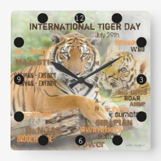 International Tiger Day, July 29, Typography Art Square Wall Clock