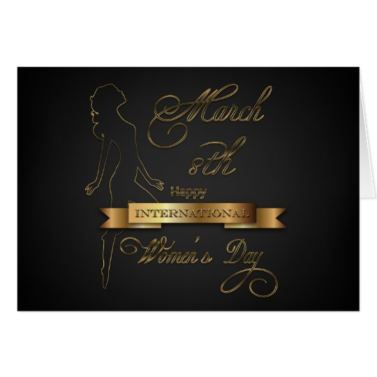 International Women's Day Elegant Gold Card