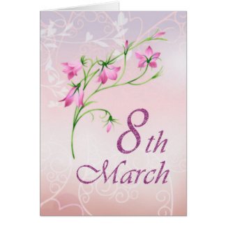 International women's day, pink flowers card