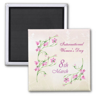 International Women's Day, pink flowers Square Magnet
