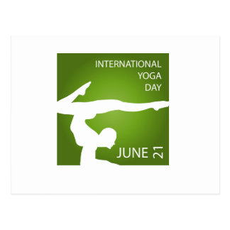 International yoga day june 21 postcard