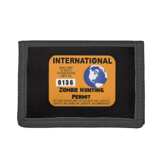 International Zombie Hunting Permit Walking Funny Trifold Wallet