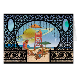 Interplanetary Travel Moons of Risa Greeting Card