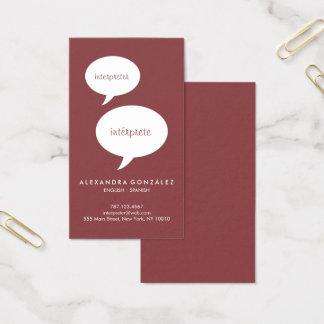 Interpreter Custom Colour Speech Bubble Business Card