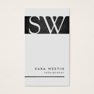 Interpreter Special Skills Monogram Black Damask Business Card