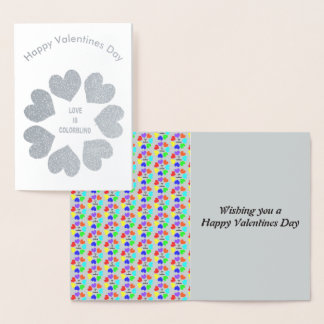 Interracial Love Rainbow Hearts Foil Card