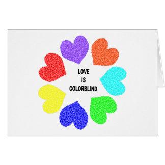Interracial Love Rainbow Hearts Greeting Card