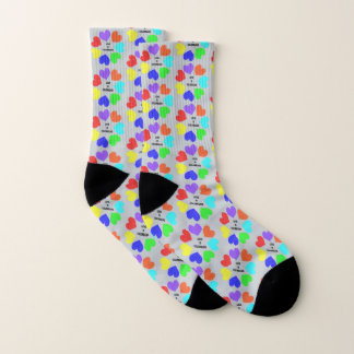 Interracial Love Rainbow Hearts Patterned Socks