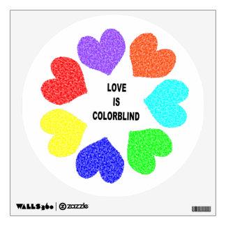 Interracial Love Rainbow Hearts Wall Decal