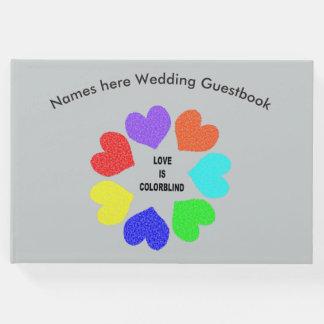 Interracial Love Rainbow Hearts Wedding Guestbook