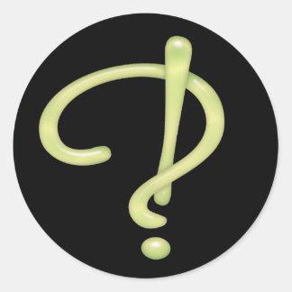 Interrobang Green Glass Black RND Classic Round Sticker