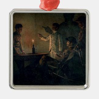 Interrogation of a deserter Silver-Colored square ornament