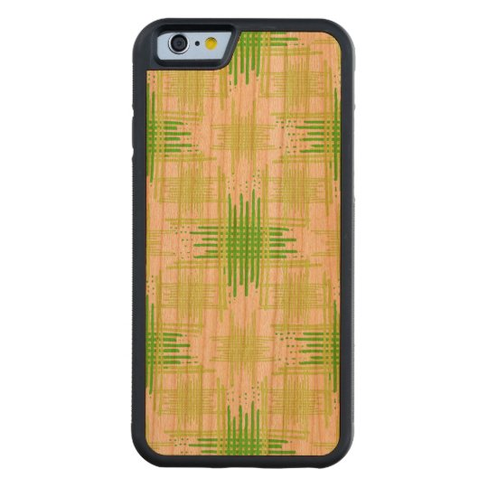 Intersecting Lines Pattern Carved Cherry iPhone 6 Bumper Case