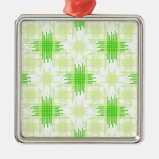 Intersecting Lines Pattern Metal Ornament