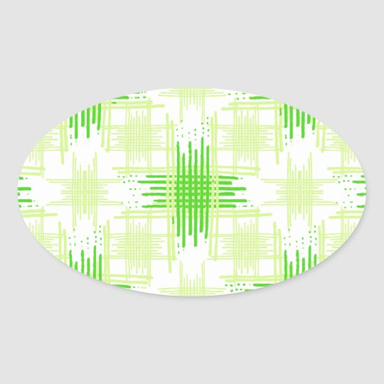 Intersecting Lines Pattern Oval Sticker