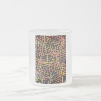 Intersecting Wavy Rainbow Lines Frosted Glass Coffee Mug