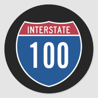 Interstate 100 classic round sticker