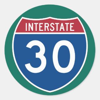 Interstate 30 (I-30) Highway Sign (pack of 6/20) Round Sticker