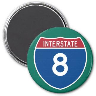 Interstate 8 (I-8) Highway Sign 3 Inch Round Magnet