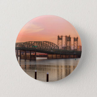 Interstate Bridge Over Columbia River at Sunset 2 Inch Round Button