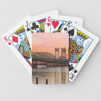 Interstate Bridge Over Columbia River at Sunset Bicycle Playing Cards
