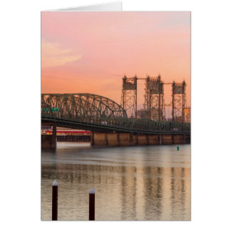 Interstate Bridge Over Columbia River at Sunset Card