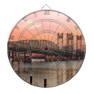 Interstate Bridge Over Columbia River at Sunset Dartboard
