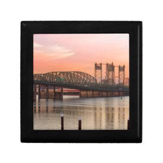 Interstate Bridge Over Columbia River at Sunset Gift Box
