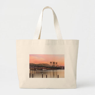 Interstate Bridge Over Columbia River at Sunset Large Tote Bag