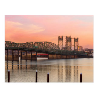 Interstate Bridge Over Columbia River at Sunset Postcard
