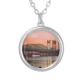 Interstate Bridge Over Columbia River at Sunset Silver Plated Necklace