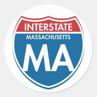 Interstate Massachusetts MA Classic Round Sticker