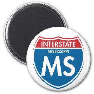 Interstate Mississippi MS 2 Inch Round Magnet