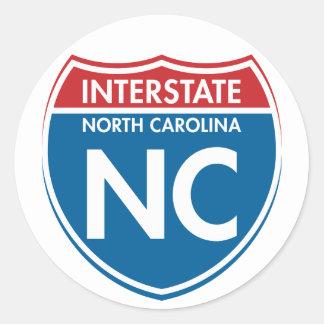 Interstate North Carolina NC Classic Round Sticker