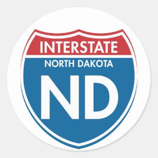 Interstate North Dakota ND Classic Round Sticker