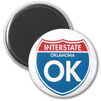 Interstate Oklahoma OK 2 Inch Round Magnet