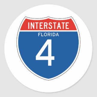 Interstate Sign 4 - Florida Classic Round Sticker