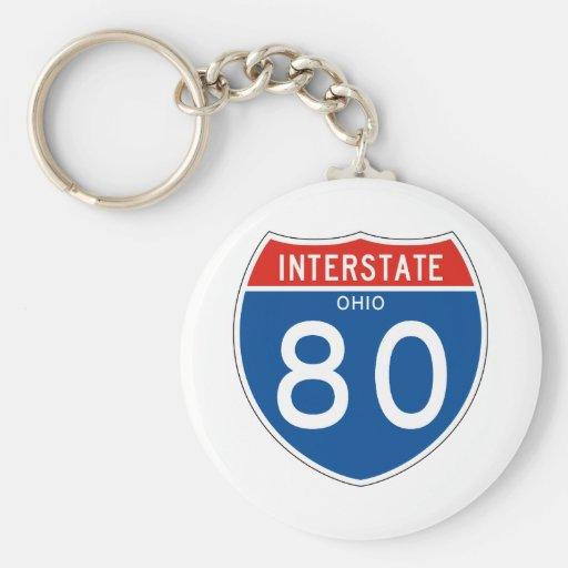 Interstate Sign 80 - Ohio Keychains