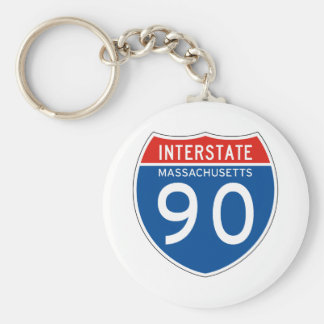 Interstate Sign 90 - Massachusetts Keychain