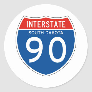 Interstate Sign 90 - South Dakota Round Sticker