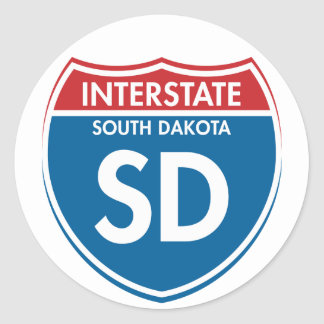 Interstate South Dakota SD Classic Round Sticker