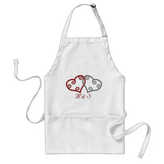 Intertwined hearts monogrammed apron