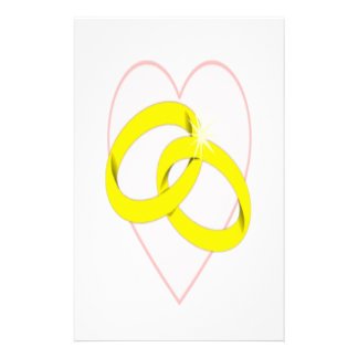 Intertwined Wedding Rings & Heart Stationery Paper