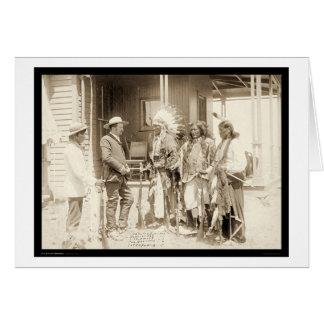Interviewing Three Cheyenne Indians SD 1887 Card