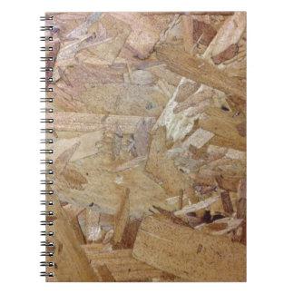 Interweaving particle board notebook