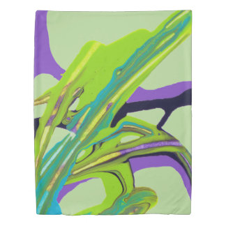 """Interwoven"" Abstract Painting (pale green) Duvet Cover"