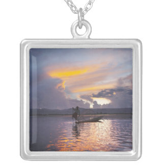 Intha fisherman leg rowing boat fishing with net square pendant necklace