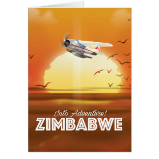 Into Adventure! Zimbabwe travel poster Card