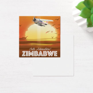 Into Adventure! Zimbabwe travel poster Square Business Card