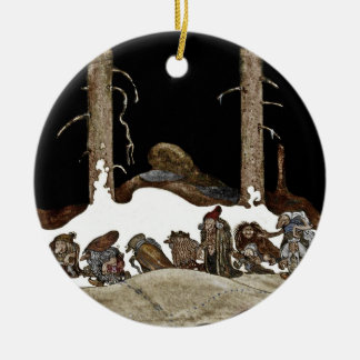 Into the Christmas Night - Round Ceramic Ornament